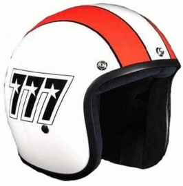 BANDIT - Jet Open Face Helmet - 777 [Shiny White with Red Lines]