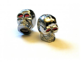 Valve Caps - Silver Skulls with Red Eyes