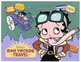Betty Boop - Large Metal Plate / Tin Sign - Fly The Friendliest Skies! - Betty's BON VOYAGE - TRAVEL
