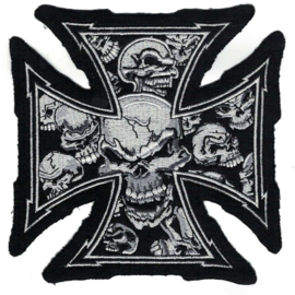 PATCH - Iron / Maltese Cross with White Skulls (medium size)