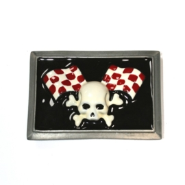 Rock Daddy - BELT BUCKLE - Skull with Racing Flags