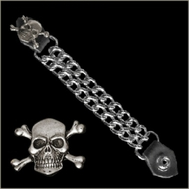 Vest Extender - Double Chain - Skull and Crossed Bones
