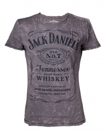 Jack Daniel's - T-Shirt - Grey - Acid Washed - Original Big Classic Logo