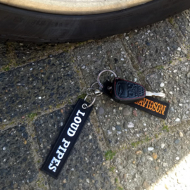 Embroided Keychain - Black & White  - LOUD PIPES SAVES LIVES