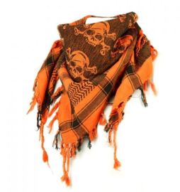 Rock Daddy - Arafat Shawl (PLO) - Black/Orange with Skulls and Bones