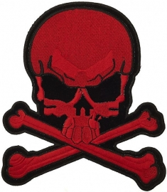 000 - BACKPATCH - Red Skull with Crossed Bones