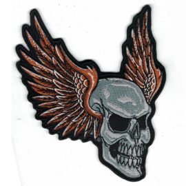 medium PATCH - Grey SKULL with ORANGE WINGS