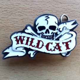 BUCKLE - WILDCAT - Skull with Bones and Banner - WILDCAT