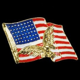 P139 - Large PIN - Waving USA Flag & Golden Eagle