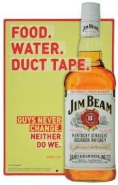 Jim Bean - Metal Plate / Tin Sign - 3D - Food. Water. Duct Tape