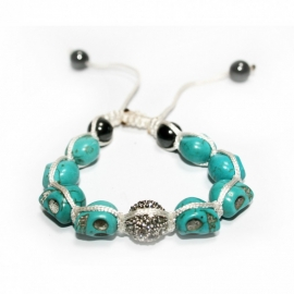 Turquois bracelet with Skullies