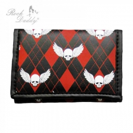 Rock Daddy - Black Trifold Wallet with Chain - Black/Red Wide Diamond Pattern and Winged Skulls