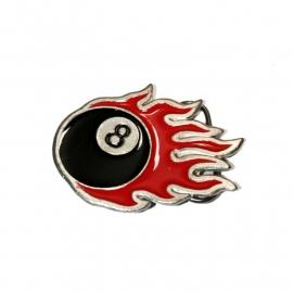 Eightball with Flames BUCKLE [B114]