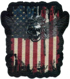 020 - PATCH - American Flag with Rider Skull and Wings