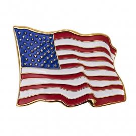 Belt Buckle - Waving American Flag - USA - Stars and Stripes