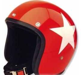 BANDIT - Jet Open Face Helmet - Star Design [Shiny Red  Helmet with White Star and full BLACK Interior]