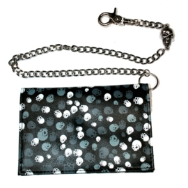 Rock Daddy - Blue & Grey Skulls Wallet with Chain