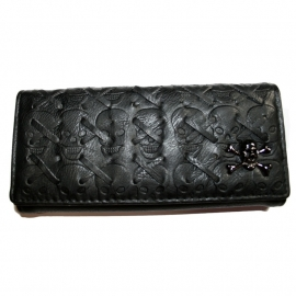 Black Wallet with Snap Button Closure - Crossed Skull Design