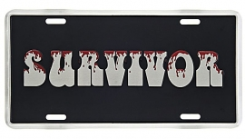 License Metal Plate / Tin Sign -  (Bloody) Survivor