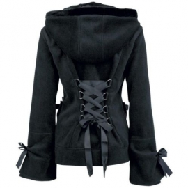 Poizen Industries - Alice Fleece Hoodie with Corset on the Back M/L
