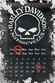 Harley-Davidson - Metal Plate / Tin Sign - Skull Calendar