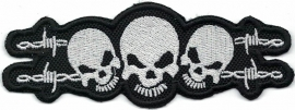 197 - PATCH - Three Skulls and Barbed Wire
