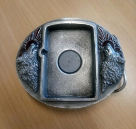 Zippo Holder BUCKLE - Howling Wolves