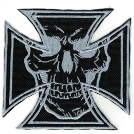 PATCH - Maltese Cross with One Skull - GREY / SILVER