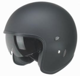RADIUM/NOX - N237 - ECE -  Jet Helmet with Sun Visor with Built-In Sun Visor  [Matt Black]
