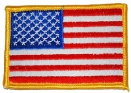 PATCH - American Flag - Yellow/Gold border - Stars and Stripes - USA