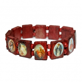 Holy Saints bracelet (red/brown)