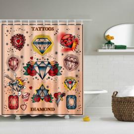 Shower Curtain / Room Divider - Old Skool Tattoo 180x180cm