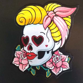 BACKPATCH - Pin up skull with bandana and roses