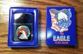 THE EAGLE FLIES AGAIN - Lighter - Keep The Eagle Flying - Round - Rebel Flag & Screamin' Eagle Head