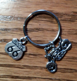 Metal Keychain - Little Motorcycle & Route 66 Shield