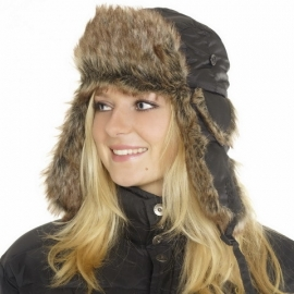 Fur and Polyester Hat - Black