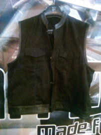 Black Vest with Leather Details - DENIM - Mandarine Cut Off