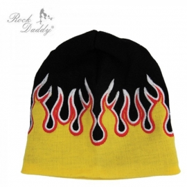 Yellow Flames Knitted Beanie