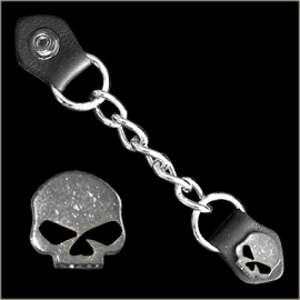 Vest Extender - Single Chain - Half Skull with Black Eyes
