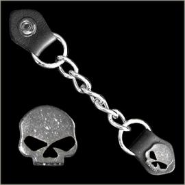 Vest Extender - Single Chain - Half Skull with Black Eyes