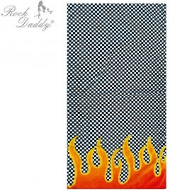Rock Daddy - Bath Towel - Checkered Design with Burning Flames