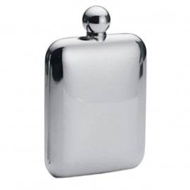 FLASK - Round Square - Stainless Steel - 6 oz / approx. 177ml