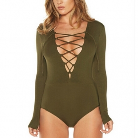 Longsleeve Body with Corset Details - Olive Green (only L left)