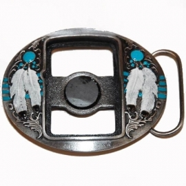 Zippo Holder BUCKLE - Indian Feathers [B166]