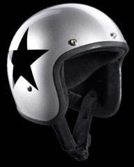 BANDIT - Jet Open Face Helmet - Star Design [Shiny Silver  Helmet with Black Star]