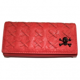 Pink Wallet with Snap Button Closure - Crossed Skulls Design