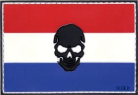 032 - VELCRO/PVC PATCH - Dutch Flag with Skull - Holland - Nederland - Netherlands