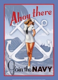 Large Metal Plate / Tin Sign - AhoyThere - Join The NAVY