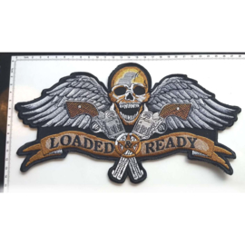 BACKPATCH - LOADED & READY - Skull with wings and guns