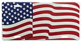License Metal Plate / Tin Sign - American Waving Flag - USA